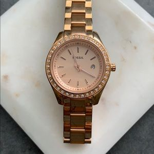 Rose Gold Pave Fossil Watch